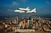 Space Shuttle Endeavor Prints - Endeavor Over Houston Print by Benjamin Yeager