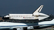 Spaceshuttle Framed Prints - Endeavor Taxis in LAX after Final Flight Framed Print by Denise Dube