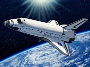 Atlantis Prints - Endeavour In Space Print by Stu Shepherd