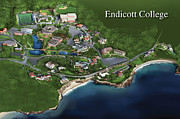 Birdseye Drawings Metal Prints - Endicott College Metal Print by Rhett and Sherry  Erb