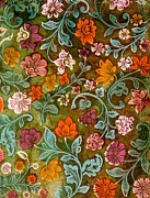 Pink Flowers Tapestries - Textiles Prints - Endplate from a Turkish Book Print by Turkish School