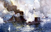 Military History Paintings - Engagement between the Confederate ironclad Merrimac also called Virginia and Monitor by American School