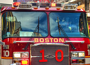 Firetruck Posters - Engine 10 - Boston Fire Engine Poster by Joann Vitali