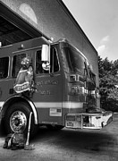 Fire Trucks Framed Prints - Engine 751 bw Framed Print by Mel Steinhauer