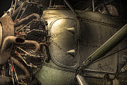Windshield Digital Art - Engine and fuselage detail - Radial engine aluminum fuselage vintage aircraft by Gary Heller