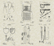 Technical Drawings Framed Prints - Engineering Tools Patent Collection Framed Print by PatentsAsArt