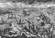 Sail Boats Drawings Posters - England s Great Storm Poster by English School