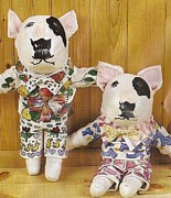 English Bull Terrier Paintings - English Bull Terrier Couple by Laura Davis