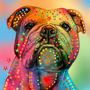 Funny Dog Digital Art Framed Prints - English Bulldog Framed Print by Mark Ashkenazi