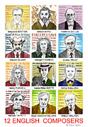 Williams Drawings Prints - English Composers Print by Paul Helm