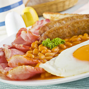 Sausages Posters - English Cooked Breakfast Poster by Colin and Linda McKie
