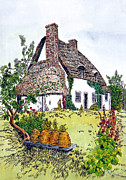 Country Cottage Drawings Prints - English Country Cottage 2 Print by John Hebb