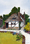 Country Cottage Drawings Prints - English Country Cottage 3 Print by John Hebb
