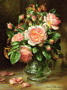 Flower Arrangement Paintings - English Elegance Roses in a Glass by Albert Williams