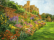 Manor Painting Posters - English Estate Gardens Poster by  David Lloyd Glover