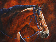 Bridle Metal Prints - English Horse Portrait Metal Print by Crista Forest