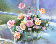 Vase Table Framed Prints - English Roses Framed Print by Cecilia  Brendel