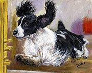 Springer Spaniel Paintings - English Springer Spaniel doing agility test by Dottie Dracos