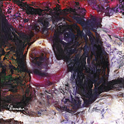 Painter And Dog Art - English Springer Spaniel by Linda Weinstock