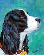 White Dogs Posters - English Springer Spaniel profile Poster by Dottie Dracos