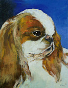 Modern Realism Oil Paintings - English Toy Spaniel by Michael Creese