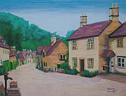 England Pastels Posters - English Village 3 Poster by Marion Derrett