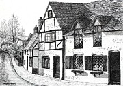 Picturesque Drawings Posters - English Village Poster by Shirley Miller