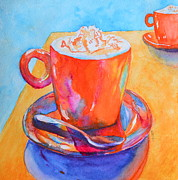 Coffee Drinking Painting Prints - Enjoy Print by Beverley Harper Tinsley