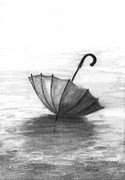 Umbrella Drawings Prints - Enjoy The Raindrops Print by J Ferwerda
