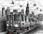 Skylines Drawings Originals - Enjoy The Ride by Omoro Rahim
