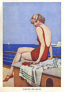 Swimsuits  Swimming Costumes Prints - Enjoying The Breeze 1950s Uk Mcitnt Print by The Advertising Archives