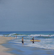 Hamptons Painting Prints - Enjoying the Waves Print by Sally Breen