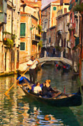 Gondolier Painting Prints - Enjoying Venice Print by Sheldon Kralstein