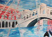 Grande Painting Framed Prints - Enlighted Rialto bridge in Venice Framed Print by M Bleichner