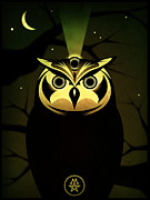 Horus Metal Prints - Enlightened Owl Metal Print by Milton Thompson