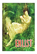 Midcentury Posters - ENLIST World War 1 Enlistment Art Poster by Presented By American Classic Art