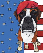 Boxer Digital Art Framed Prints - Enlisted Pup Framed Print by Stephanie Gerace