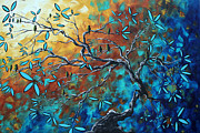 Tree Blossoms Painting Acrylic Prints - Enormous Abstract Bird Art Original Painting WHERE THE HEART IS by MADART Acrylic Print by Megan Duncanson