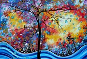 Dark Turquoise Posters - Enormous Whimsical Cityscape Tree Bird Painting Original Landscape Art WORLDS AWAY by MADART Poster by Megan Duncanson