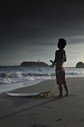 Twilight Prints - Enoshima Surfer Print by Aaron S Bedell