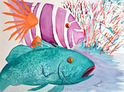 Surgeonfish Painting Posters - Enough Already Poster by Tricia Gooch