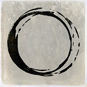 Modern Buddhist Art Art - Enso No. 107 Black on Taupe by Julie Niemela
