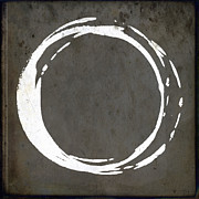 Gallery Print Framed Prints - Enso No. 107 Gray Brown Framed Print by Julie Niemela