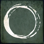 Modern Buddhist Art Art - Enso No. 107 Green by Julie Niemela