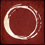 Red Abstract Metal Prints - Enso No. 107 Red Metal Print by Julie Niemela