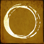 Modern Buddhist Art Art - Enso No. 107 Saffron by Julie Niemela