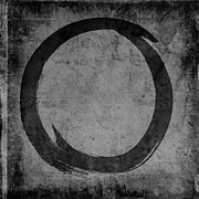 Acrylic Print Digital Art - Enso No. 108 Black on Gray by Julie Niemela