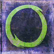 Acrylic Print Digital Art - Enso No. 108 Green on Purple by Julie Niemela
