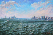 Manhattan Painting Prints - Entering in New York Harbor Print by Ylli Haruni