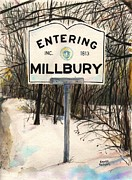 Cartoonist Posters - Entering Millbury Poster by Scott Nelson